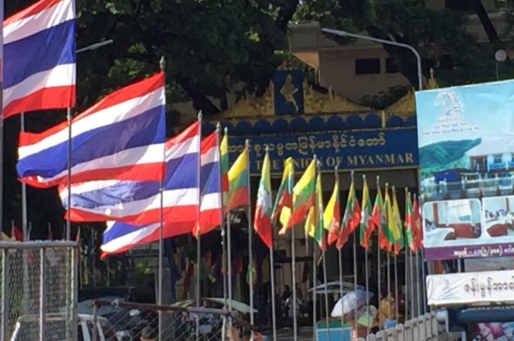 メーサイにあるタイとミャンマー国境