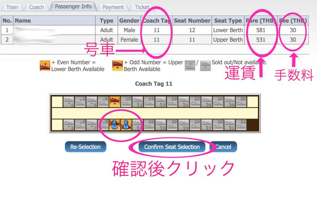 タイ国鉄の予約サイト