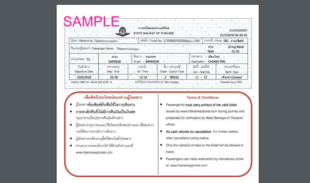 タイ国鉄のチケットサンプル
